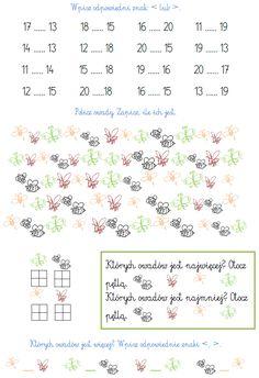 BLOG EDUKACYJNY DLA DZIECI: LICZBY DRUGIEJ DZIESIĄTKI - PRZYKŁADOWE ZADANIA DO 20 Counting To 20, Montessori, Worksheets, Activities For Kids, Math Equations, Education, Children, Blog, Therapy