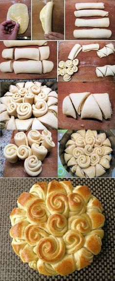 Happy Holiday Bread- use homemade crescent dough, would be good to put some butter and brown sugar in them! Bread Recipes, Cooking Recipes, Holiday Bread, Holiday Baking, Ukrainian Recipes, Ukrainian Food, Bread And Pastries, No Yeast Bread, Bread Baking