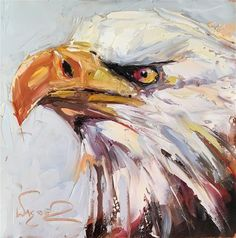 """Daily Paintworks - """"ORIGINAL CONTEMPORARY BALD EAGLE PAINTING in OILS by OLGA WAGNER - 12 DAYS OF GREY"""" - Original Fine Art for Sale - © Olga Wagner"""