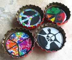 4 Colorful Peace Sign Bottlecap Magnets by BeansThings, via Flickr