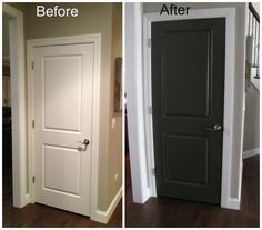Black Doors Design Black Interior Doors With White Trim in Inspiration. We're so doing this to our house! Painted Interior Doors, Black Interior Doors, Painted Doors, Wooden Doors, Slab Doors, Interior Painting, Timber Door, Dark Doors, White Doors