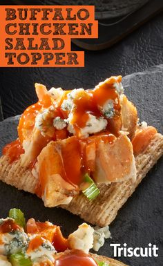 Here's a game-day appetizer that every football fan will love. Season boneless, skinless chicken breasts with salt and pepper and grill them for about 6 to 8 minutes. Chop each chicken breast up and mix them into a bowl with shredded carrots and chopped celery. Lightly add a mixture of Buffalo wing sauce and mayo into your bowl, and then serve atop TRISCUIT Crackers with crumbles of blue cheese. One bite, and you'll know why this Buffalo Chicken Salad Topper is one of our football favorites.