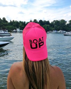 952137798cf77 Boat Up neon pink trucker hat  boating  boatup  goboating  kcco  lakelife