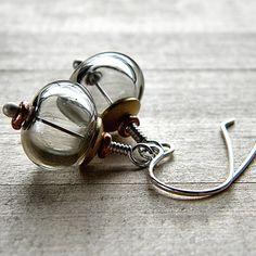 Gray Lampwork Earrings Smoke Grey Blown Glass by GlitzGlitter Glass Earrings, Diy Earrings, Glass Jewelry, Earrings Handmade, Beaded Jewelry, Glass Beads, Handmade Jewelry, Jewellery, Do It Yourself Jewelry