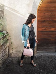 Dallas fashion blogger; denim jacket, silk polka dot J.Crew top, NYDJ dark wash denim, pink Dolce & Gabbana Miss Sicily handbag, Alexander Wang Lou sandals #denimjacket #petiteblogger