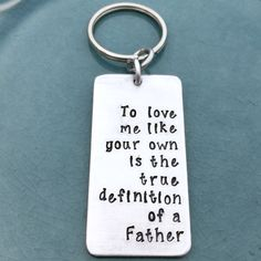 Father, Step Child, Hand Stamped, Step Dad, Keychain, Dad, Daddy Key Chain, Step Father, Stepdad, Adopted, Fathers Day Gift, Gifts for Him by ILLBECHARMED on Etsy https://www.etsy.com/listing/278775166/father-step-child-hand-stamped-step-dad