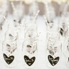 Mason Jar Drinking Glass with name. Instead of table name cards. Love this idea