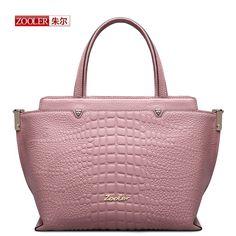ZOOLER New 2016 arrival genuine leather handbag pink capacity Trapeze woman fashion bags Alligator pattern shoulder bag#AEJ-1312