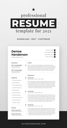Professionally designed resume template that showcases your skills and experience in an elegant and effective way. The layout is optimized for building a resume that is informative, visually attractive and easy to navigate. The template package includes resume, cover letter and references templates in matching designs for creating a complete and consistent job application quickly and easily. Build your new resume now! #resume #resumetemplate #cv #cvtemplate #jobsearch #jobhunt #careeradvice One Page Resume Template, Modern Resume Template, Creative Resume Templates, Resume Tips, Resume Examples, Job Resume, Cv Words, Marketing Resume, Build A Resume