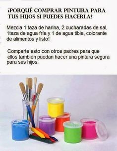 A qUe No SaBiAs ≧◠‿●‿◠≦: Receta para preparar pintura casera para los niños: Diy For Kids, Crafts For Kids, Party Deco, Kids And Parenting, Luhan, Ideas Para, Activities For Kids, Diy And Crafts, Baby Kids
