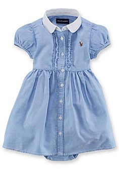 NWT Baby Girl Ralph Lauren Blue Solid Oxford Shirtdress- Size 12 Months #RalphLauren #Everyday