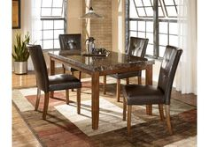 """The rich contemporary design of the """"Lacey"""" dining room collection features faux marble and a subtle rustic beauty to create a sophisticated atmosphere that is sure to enhance any dining experience. #FurnitureStore #BuyFurniture #FurnitureLondIsland 5 Piece Dining Set, Dining Room Sets, Dining Table In Kitchen, Dining Tables, Dining Area, Upholstered Dining Chairs, Dining Room Furniture, Furniture Mattress, Target Furniture"""