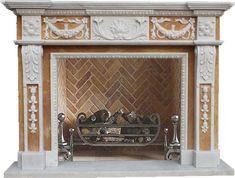 Luxus pur: Kaminmaske aus weißem und beigefarbenem Marmor   Modell: ZO210030, SHI-Kaminserie