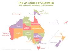 Artist Sasha Trubetskoy has drawn up a beautiful map depicting what Australia would have been like if all statehood proposals had succeeded. This Is What Australia Would Look Like With All 24 Proposed States Australia Map, Queensland Australia, Western Australia, Australian Road Trip, Australian Money, Alternate History, South Island, Historical Maps, Papua New Guinea