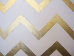 Gold and White Chevron Painting