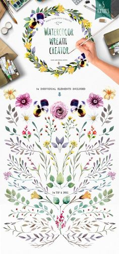 Watercolour elements. Wreath creator by Smotrivnebo on Creative Market #watercolour #design #graphicdesign