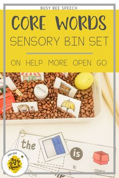 This core word sensory bin set comes with everything you need to create 3 different sensory bin activities for each of the 5 core words!  It also includes posters and idea sheets for each word.  Great for SLPs and special education teachers to reinforce those core word activities.
