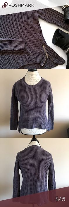 Vintage Havana Open Knit Side Zipper Sweater This is such an awesome sweater! Heavy open knit, will be perfect for the winter into spring transition. High-low hem, side zipper detail (wear it zipped or unzipped! 🤗), Zipper detail on left hand shoulder. Excellent pre-loved condition!   🚫no trades 🚫no modeling ✅dog friendly/🚭smoke free home ✅reasonable offers ✅bundle & save! Vintage Havana Sweaters Crew & Scoop Necks