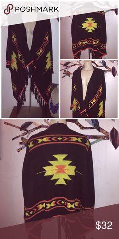 Black Boho Tribal Fringe Cardigan Beautiful cardigan in black! Boho style. Fringe detail in excellent condition. Brand new eric tags. Size medium. umgee Sweaters Cardigans