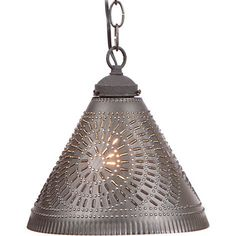 Punched Tin PENDANT Shade LIGHT Primitive Hanging Ceiling Fixture Country Farmhouse Decor Kettle Black Chisel Pattern by savingshepherd on Etsy