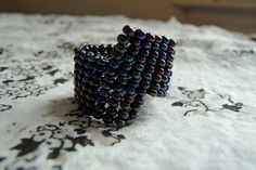 Miami Midnight Beaded Two Drop Ring