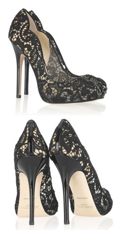 LOVE lace shoes! Perfect with a little black dress