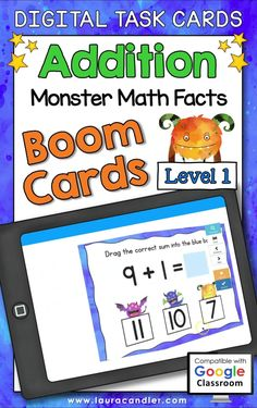 Addition Monster Math Facts Level 1 digital self-checking Boom Cards™ are a fun way for students to develop fluency with addition facts.#BoomCards #DigitalTaskCards #DistanceLearning #addition #additionfacts #mathboomcards #mathfun #mathfactpractice Teacher Hacks, Best Teacher, Homeschooling Resources, Teaching Resources, Active Engagement, Math Fact Practice, Engage In Learning, Addition Facts, 4th Grade Math