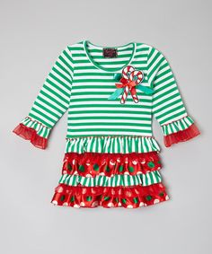 Look what I found on #zulily! Red & Green Candy Cane Stripe Dress - Infant, Toddler & Girls #zulilyfinds