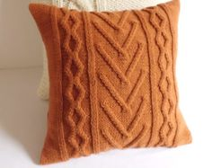 Terracotta cable knit pillow cover,, knitted burned orange pillow case, throw pillow cover, hand knit cushion cover, decorative couch pillow
