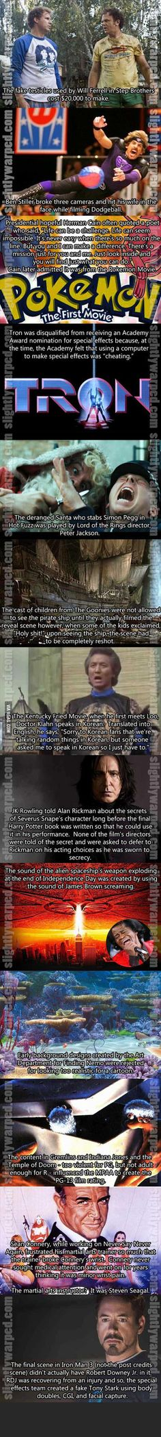 Fun, Random Movie facts. Harry Potter, Tron, Step-brothers, Dodgeball, Iron Man and more