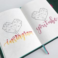 I am loving this geometric heart Instagram and YouTube tracker for my bullet journal. It is so much fun filling in these social media trackers as my accounts grow