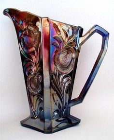 Grand Thistle by Riihimaki RARE Blue European Carnival Glass Water Pitcher