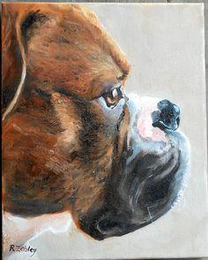 Boxer Dog Pet Portrait Oil Painting on canvas by CustomPortraitArt, $225.00