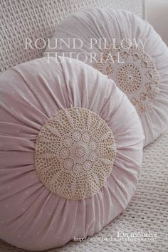 Lace fronted round gathered cushion