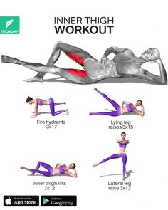 Fitness Workouts, Gym Workout Videos, Gym Workout For Beginners, Fitness Workout For Women, Body Fitness, Fitness Goals, Fitness Tips, Thigh Workouts, Inner Thigh Exercises