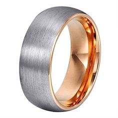 cool Will Queen Domed Matte Tungsten Wedding Bands, Rose Gold Interior Anniversary Rings for Men Comfort Fit 8mm (9)