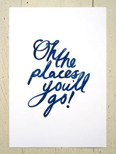 For boy nursery...with cars of course :)  Oh The Places You'll Go typographic print - navy blue. Large size