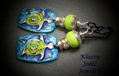 Glass Lampwork Beaded Earrings with Pewter Charms-Tribal