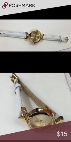 Gold watch with white leather Unique design gold watch Accessories Watches