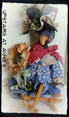 Fall Halloween Folk Art Crow Doll