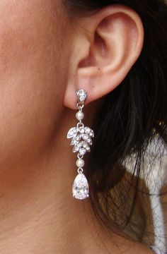 Vintage Bridal Earrings, Rhinestone Leaves and Swarovski Pearl Earrings, Cubic Zirconia Earrings, Crystal Leaves, EVA. $52.00, via Etsy.
