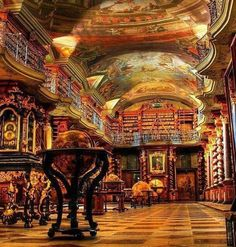 BEAT THE BLUES! Visit the ancient Strahov Monastery Library in Prague and be in awe of the stunning baroque style architecture. Definitely one of the most beautiful libraries in the world! Photo Credit: via Pinterest #czechrepublic #prague #libraries