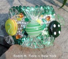 Lemon Lime Murano Glass Candy Cuff Bracelet  by ThePurpleHouse, $55.00