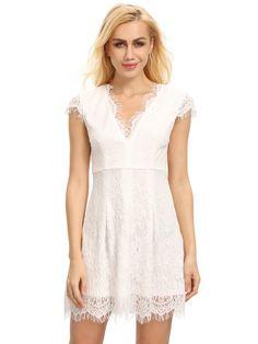 Shop Cream Cap Sleeve Lace Dress online. SheIn offers Cream Cap Sleeve Lace Dress & more to fit your fashionable needs.