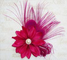 1774f8319a43 Hot pink fuchsia peacock feather hair clip bridal fascinator