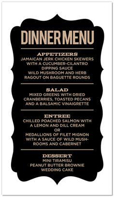 Retro menu. At the entrance of a wedding reception, maybe?