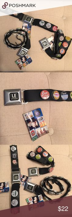 """Seatbelt Belts Bottle Caps Little Earth Super cool and cute Little Earth repurposed seat belts into wearable belts with bottle caps. New with tags. Made in my hometown. One size only: 29"""" does have some stretch. Boutique Accessories Belts"""
