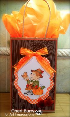 Art Impressions Rubber Stamps: Happy Fall Set (Sku#4525) handmade gift bag with scarecrow