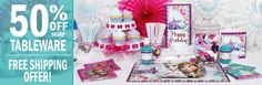 Disney Frozen Party Supplies, FREE shipping offer, 50% off tableware, and same day order processing from Birthday Direct