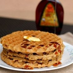 Easy Oatmeal Cookie Waffles that are made from 100% oats! Just throw all of the ingredients into the blender!